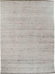 Hioshop Kadril vloerkleed handgeweven 160x230 cm, laagpolig grijs.