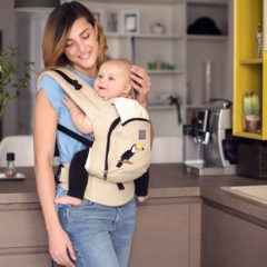 "Beige Love and Carry® AIR ergonomische draagzak ""Tropical Forest"""