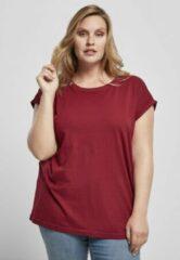 Bordeauxrode Urban Classics Dames Tshirt -XS- Organic Extended Shoulder Bordeaux rood