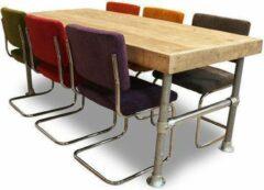 Van Abbevé Set tafel en stoelen Set Steigerhouten Tafel Met 6 Retro Rib Stoelen
