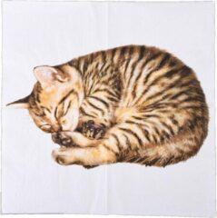 Esschert Design Servetten Kat 33 Cm Papier Wit/bruin 3-laags