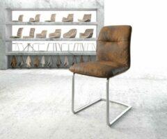 Zilveren DELIFE Stoel Francy-Flex sledestoel rond roestvrij staal vintage suede-look bruin
