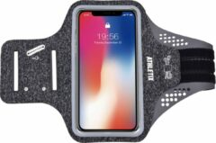 Grijze Premium Sportarmband - Universele Hardloop Armband - iPhone, Samsung & Huawei - Smartphonehouder - Reflecterend, Spatwaterdicht, Sleutelhouder, Verstelbaar - Lycra - Luxe Sportarmband - ATHLETIX