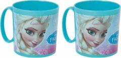 Disney Set van 2x stuks plastic Frozen thema drink bekers 350 ml voor kinderen/peuters