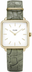 CLUSE CL0101207016 Horloge La Tetragone staal/leder goudkleurig-groen