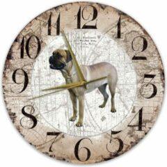 Bruine Creatief Art Houten Klok - 30cm - Hond - Bullmastiff