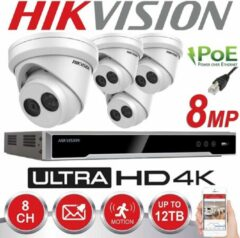 HIKVISION 8MP SYSTEM 8CH CHANNEL NVR 4K UHD IP POE 8 MP MEGAPIXEL CCTV 4X 2.8MM TURRET CAMERA NETWORK KIT Buiten Nachtvisie (Zonder HDD)
