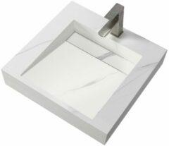Douche Concurrent Wastafel Hangend Marble Rechthoek 60.2x45.2x8cm Solid Surface Marmerlook Wit Zonder Kraangat