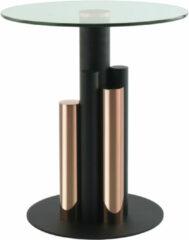 Roze Kayoom Bijzettafel 'Ontario' 46cm, kleur zwart / rosé goud