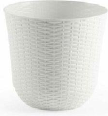 Forte Plastics 3x Ivoor witte plantenbakken/bloempotten 32 cm - Woon/tuinaccessoires/decoratie - Ronde bloempotten/plantenpotten voor binnen/buiten