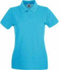 Azuurblauwe Fruit Of The Loom Vrouwen Dames-Fit Premium Poloshirt Met Korte Mouwen (Azure Blauw)