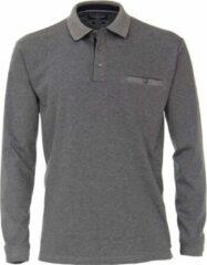 Casa Moda Comfort Fit polo lange mouw - blauw - wit melange - Maat: M