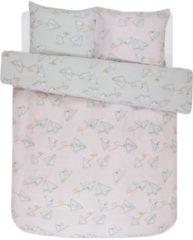 Roze Covers en Co Covers & Co Loveletter Dekbedovertrek - 100% Katoen Renforcé - Lits-jumeaux (240x200/220 Cm + 2 Slopen) - Rose/grey