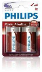 Rode Philips Batterij LR20 Powerlife 1.5V Per 2 Stuks
