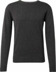 Grijze TOM TAILOR Eenvoudige gebreide trui, Black Grey Melange, M