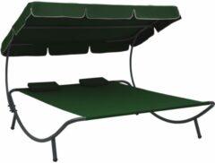 VidaXL Loungebed met luifel en kussens groen