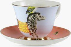 Roze Yvonne Ellen porseleinen kop en schotel met zebra's