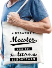Beige Shoppartners Bedankt meester katoenen tas - Meester / juffen dag einde schooljaar