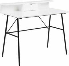 FYN Pasa bureau met 1 lade en plank wit - met zwart onderstel