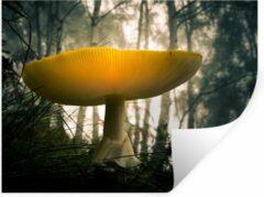 StickerSnake Muursticker Paddenstoelen - Gele paddenstoel in een bosrijke omgeving - 120x90 cm - zelfklevend plakfolie - herpositioneerbare muur sticker