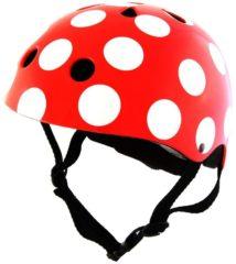 Rode Kiddimoto - Stippen Rood/Wit - Medium - Geschikt voor 4-10jarige of hoofdomtrek van 53 tot 58 cm - Skatehelm - Fietshelm - Kinderhelm - Stoere helm - Meisjes helm
