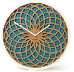 NeXtime Sun Small - Klok - Stil Uurwerk - Rond - Hout - Stof - Ø35 cm - Turquoise