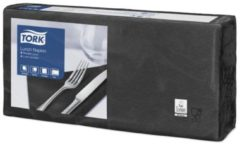 Witte Tork tissue servet 33x33cm 2 laags, 1/4 vouw, zwart, 10x200st (477148)