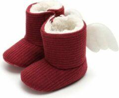 Happy Alpaca Babyslofjes - Winter Sloffen - Rood - Met Vleugels - Maat 20 voor 6-12 maanden (12 cm)