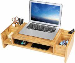 Naturelkleurige SONGMICS monitorstandaard met opbergruimte, ergonomische schermstandaard van bamboe voor monitor of laptop LLD213