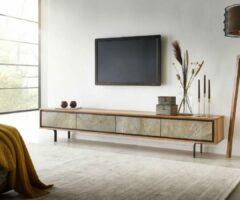 Naturelkleurige DELIFE TV-meubel Juwelo 220x35x40 acacia natuur steen fineer metaal zwart