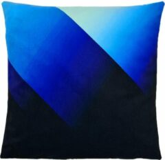 Decolenti | Blue Fade Sierkussenhoes | Blauw | Zwart | Wasbaar | Decoratie | 45cm x 45cm