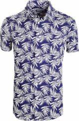 Blauwe Carisma Overhemd Korte Mouw Bloemenprint 9105