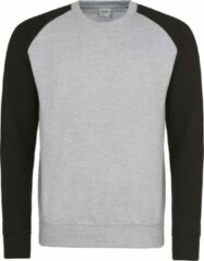 Grijze AWDis Just Hoods Baseball sweatshirt, Kleur Heather Grey/ Jet Black, Maat XXL