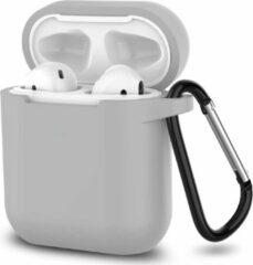 JVS Products Apple Airpods 1 en 2 ultra dunne siliconen cover - Hoesje - extra dunne Apple Airpods siliconen cover met sleutelhanger - Grijs