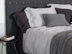 Grijze Passion for Linen Luxe dekbedovertrekset Remy Linnen en perkal katoen, 140 x 220 cm (1) 60 x 70 cm,