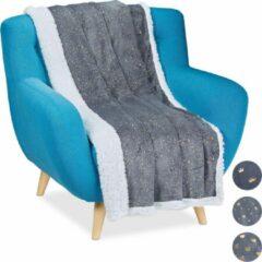 Relaxdays plaid 150x200 - deken - woonkamer - woondeken - voor op bank - grijs - bankkleed D