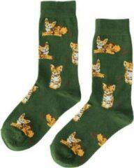GrandSock Dames sokken groen print kat Maat 36-40
