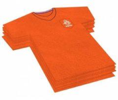 Merkloos / Sans marque 20x Voetbalshirt themafeest servetten oranje 16 x 15 cm papier - Oranje papieren wegwerp tafeldecoraties