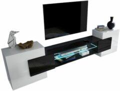 Pesaro Mobilia Tv Wandmeubel set Incastro 61 cm hoog - Hoogglans wit met zwart