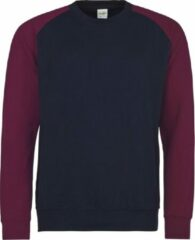 Marineblauwe AWDis Just Hoods Baseball sweatshirt, Kleur Oxford Navy/ Burgundy, Maat L
