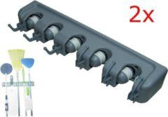 Grijze QuniQ® 2X Ophangsysteem gereedschapshouder bezemhouder voor tuingereedschap, bezems, dweilstokken, sportmateriaal enz voor 5 stelen