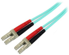 Groene StarTech.com Aqua OM4 Duplex multimode glasvezel kabel 100 Gb 50/125 LSZH LC/LC 1 m