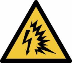 Gele Tarifold Pictogram bordje Waarschuwing: vlamboog | 200 * 176 mm - verpakt per 2 stuks