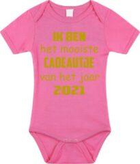 Merkloos / Sans marque Baby rompertje met leuke tekst | Ik ben het mooiste cadeautje van het jaar 2021 |zwangerschap aankondiging | cadeau papa mama opa oma oom tante | kraamcadeau | maat 92 roze goud