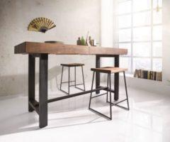 DeLife Stehtisch Blokk Akazie Braun 165x60 cm mit Metallbeine Bartisch
