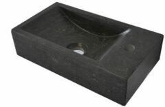 Zwarte Praya fontein 40x22cm rechts met 1 kraangat zonder waste hardsteen zwart 39.3501