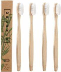 Btp Bamboe Tandenborstels |Set Van 4 Tandenborstels | Medium soft | Biologisch Afbreekbaar |Wit
