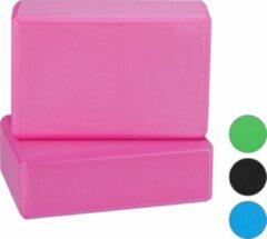 Relaxdays yoga blok - set van 2 - hardschuim - verschillende kleuren roze