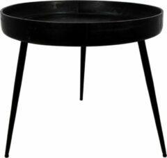 Zwarte HSM Collection Bijzettafel Ventura - ø60 cm - mangohout/ijzer - black wash