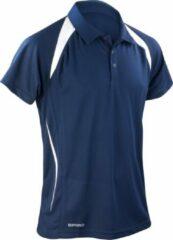 Marineblauwe Spiro Heren Sport Team Spirit Performance Polo Shirt (Marine / Wit)